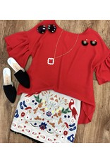 Bright Red Ruffled Sleeve High - Low Top