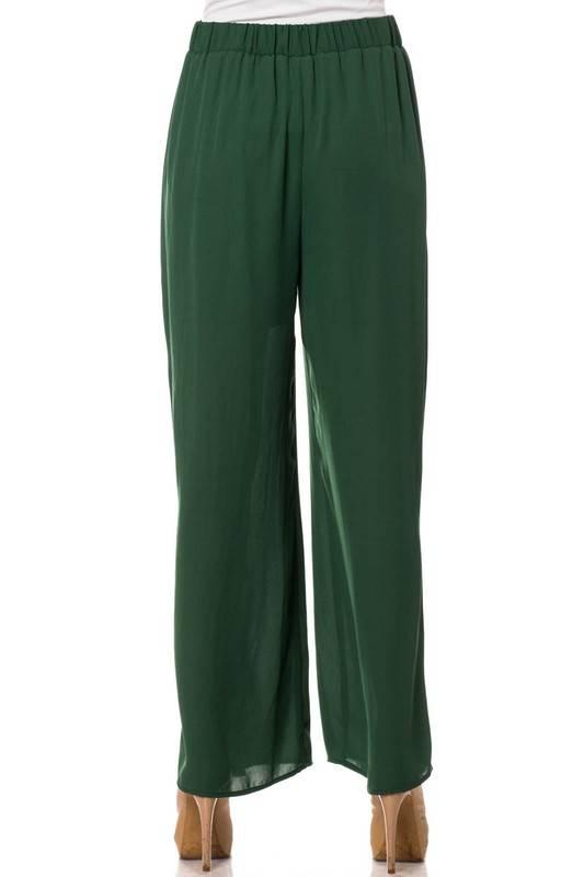 Hunter Green Overlay Front Tie Pants