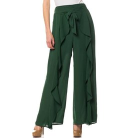 Hunter Green Overlay Front Tie Pants