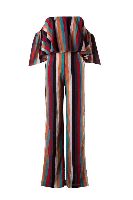 Multi-Colored Striped Off Shoulder Jumpsuit