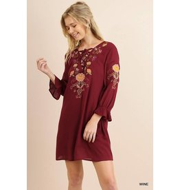 Wine Floral Embroidered Dress w/ Criss Cross Neck