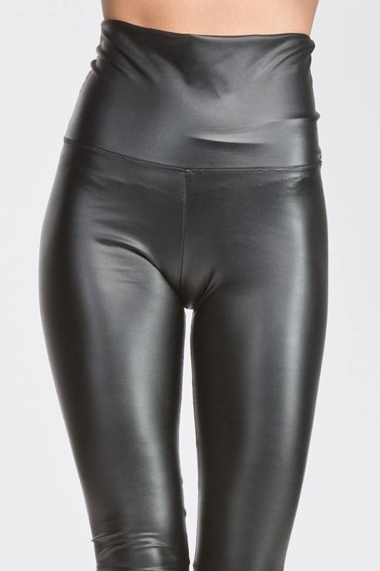 Black High Waisted Faux Leather Leggings