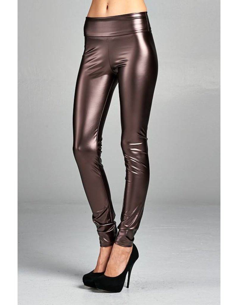Brown High Waisted Faux Leather Leggings