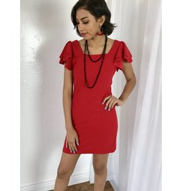 Red Fitted Ruffle Sleeve Dress