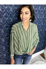 Olive Striped Front Twist Collared Top