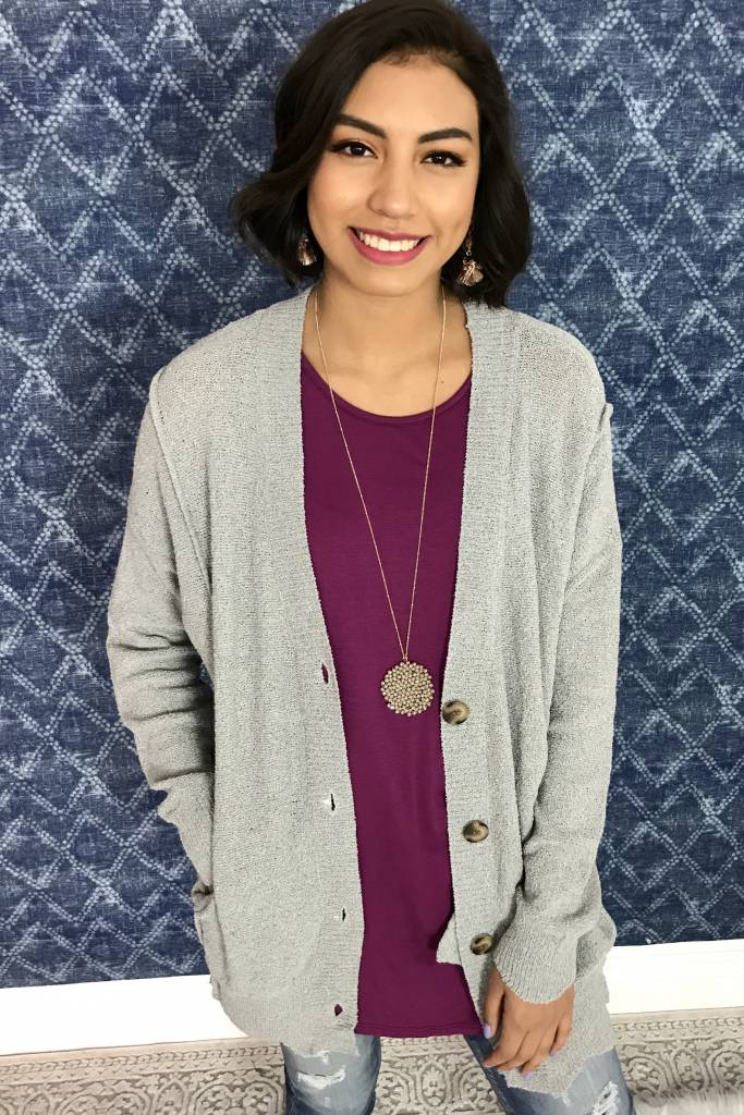 Cement Light Cardigan with Buttons-SALE ITEM