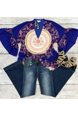 Royal Purple Oversized Medallion and Floral Top