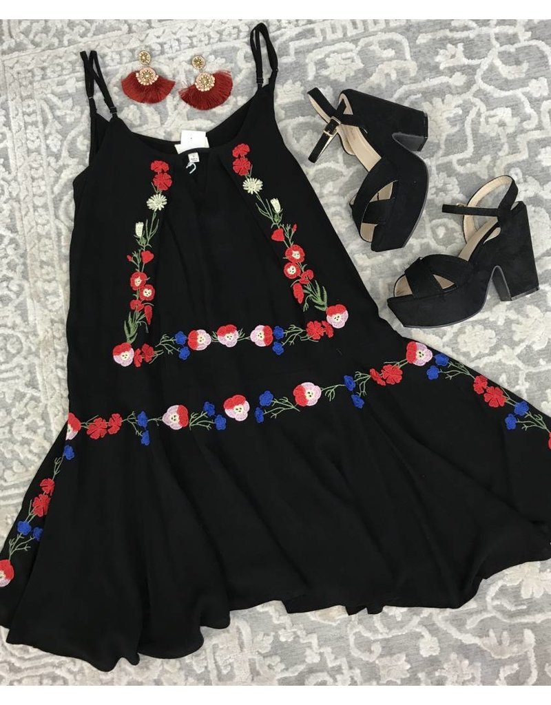 Black Scoop Neck Dress with Embroidered Detail