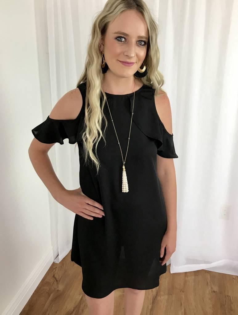 Black Cold Shoulder Ruffle Sleeve Dress
