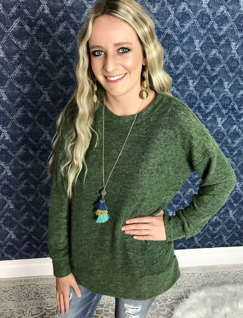 Olive Brushed Tunic Top