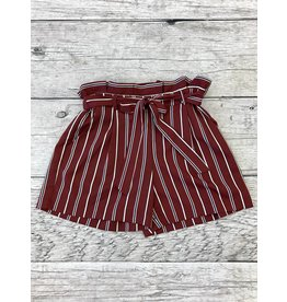 Burgundy Striped Shorts
