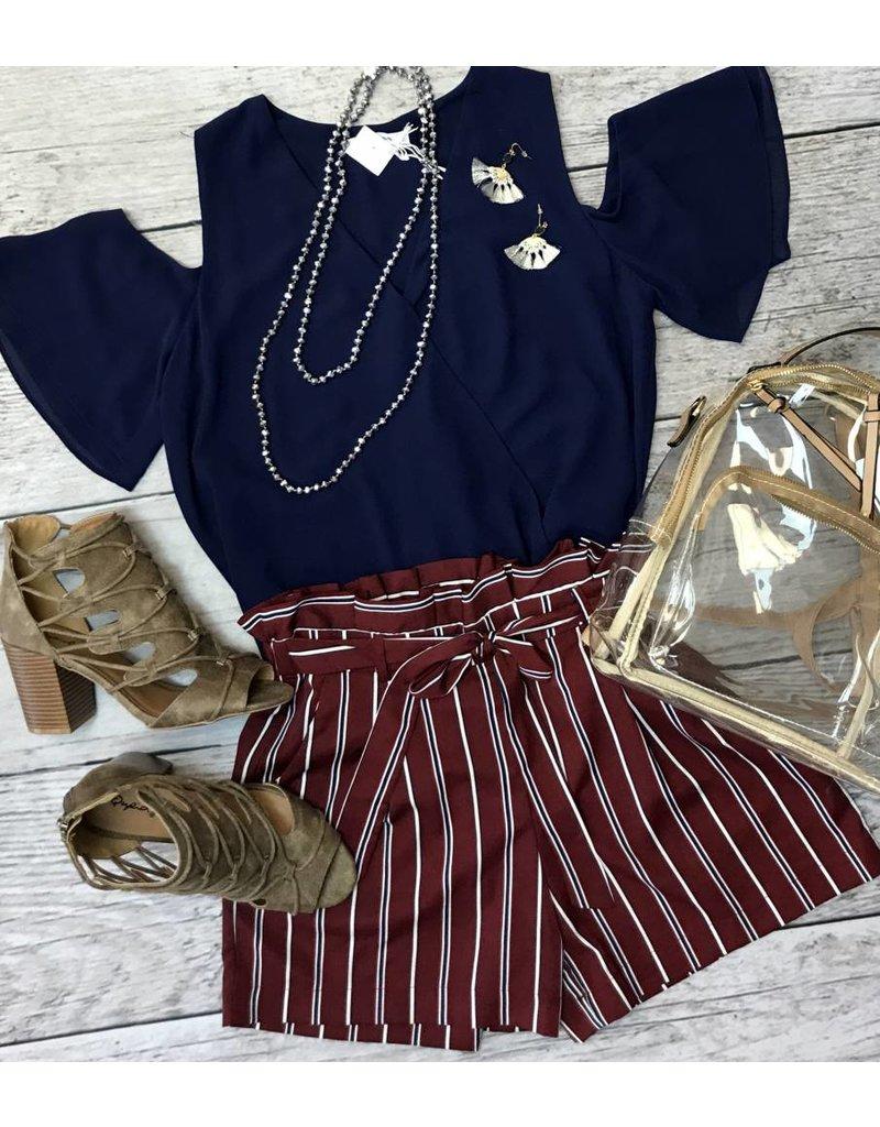 Burgundy Striped Shorts