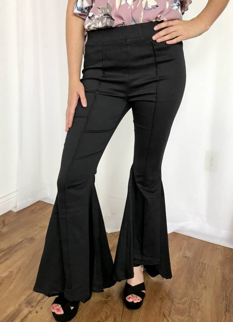 Black Elastic Waist Super Flare High - Low Leg Pants