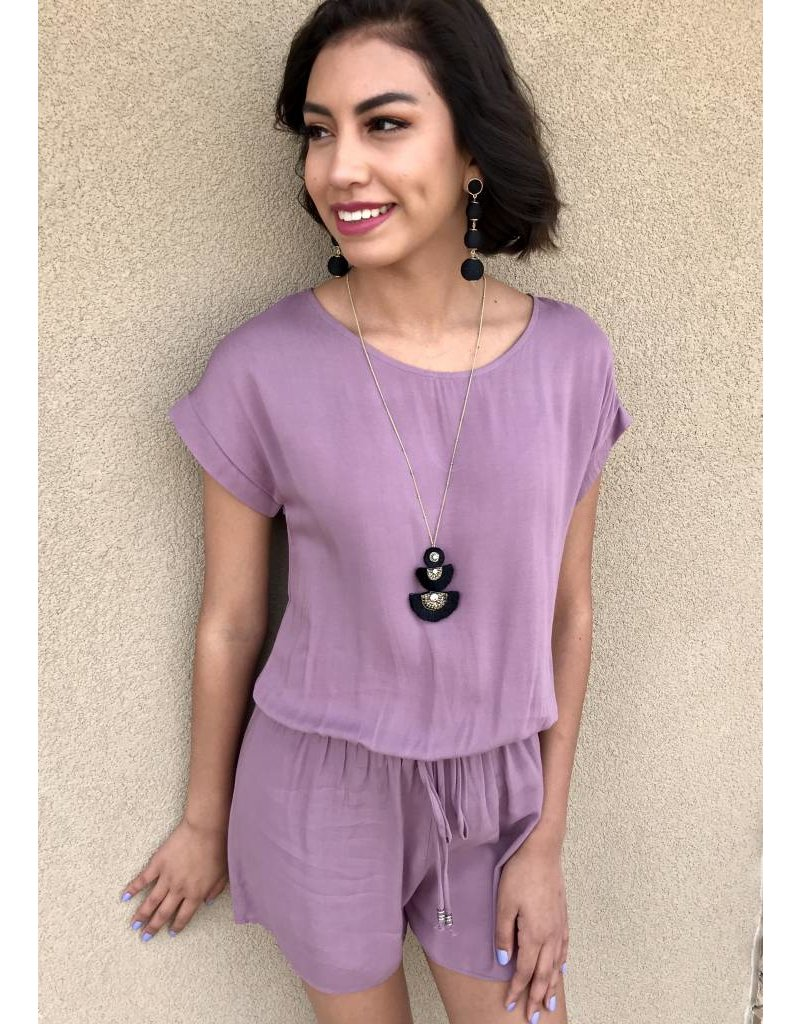 Mauve Romper with Cinched Waist