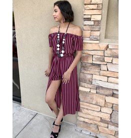 Burgundy Striped Off Shoulder Maxi-Romper
