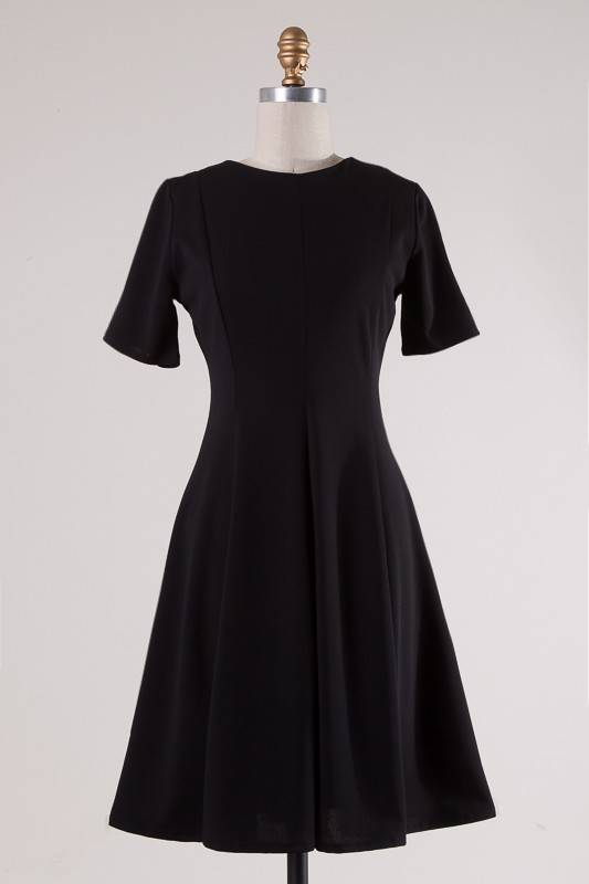Black Round Neck SS Dress