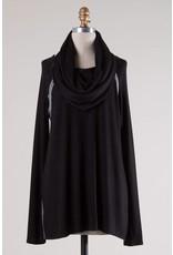 Black LS Cowl Neck Top