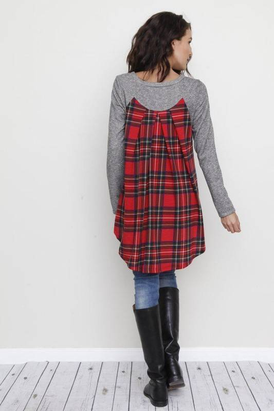 Charcoal Top with Red Plaid Contrast