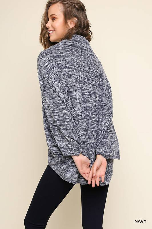 Heathered Navy Cowl Neck Knit Top