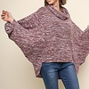 Heathered Wine Cowl Neck Knit Top