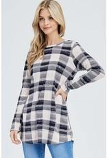 Black/Cream Checkered LS Top
