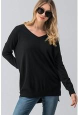 Black V-Neck Sweater Top