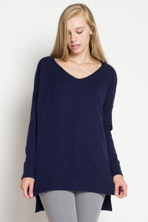 Navy V-Neck Sweater Top