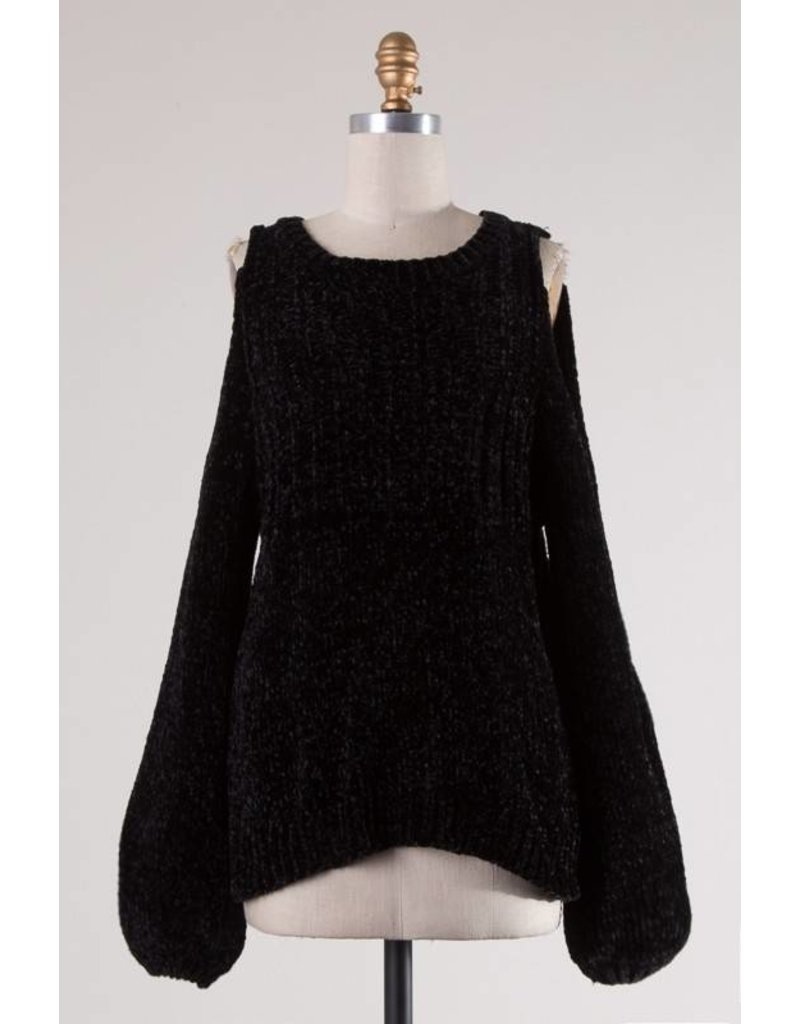 Black Cold Shoulder Chenille Sweater