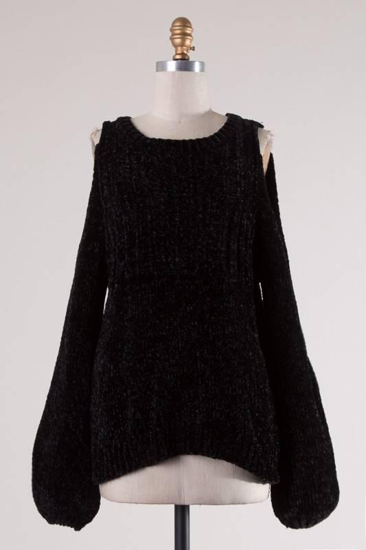 Black Cold Shoulder Chenille Sweater