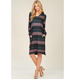 Dark Grey/Mauve Striped LS Dress