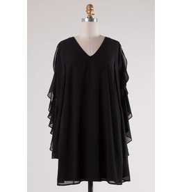 Black Dress with Ruffled Bell Sleeve