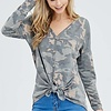 Faded Camouflage LS Front Twist Top