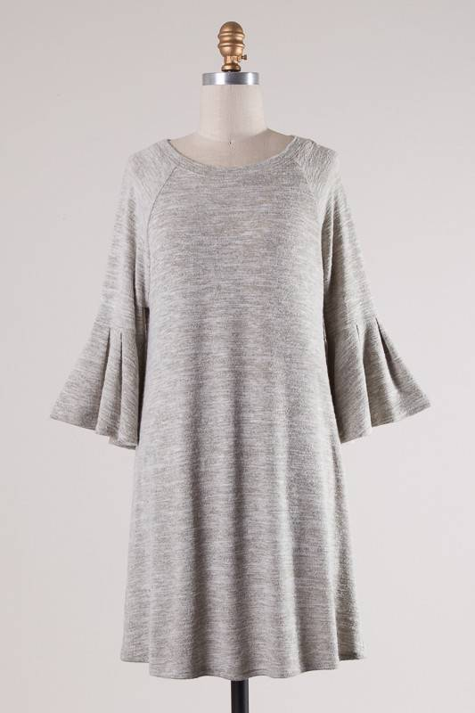 Oatmeal Two Toned 3/4 Bell Sleeve Tunic Dress