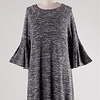 Black Two Toned 3/4 Bell Sleeve Tunic Dress
