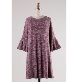 Wine Two Toned 3/4 Bell Sleeve Tunic Dress