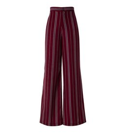 Burgundy High Waist Striped Pant