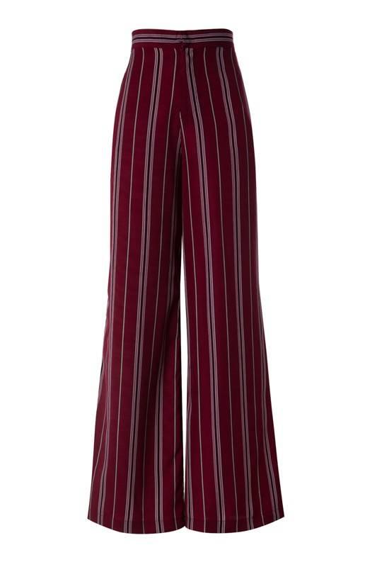Burgundy High Waist Striped Pant