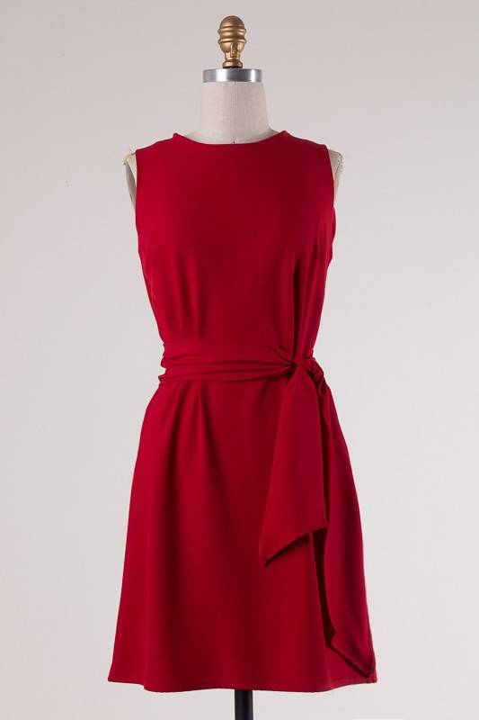 Red Sleeveless Self-Tying Knot Dress