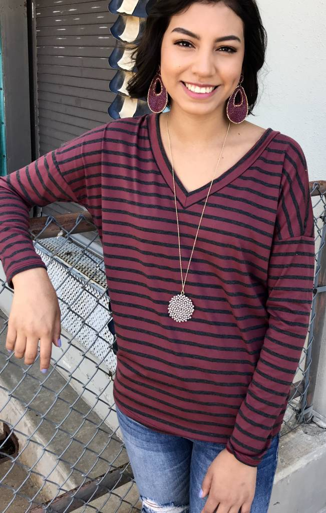 Brick and Charcoal Striped V-Neck LS Top