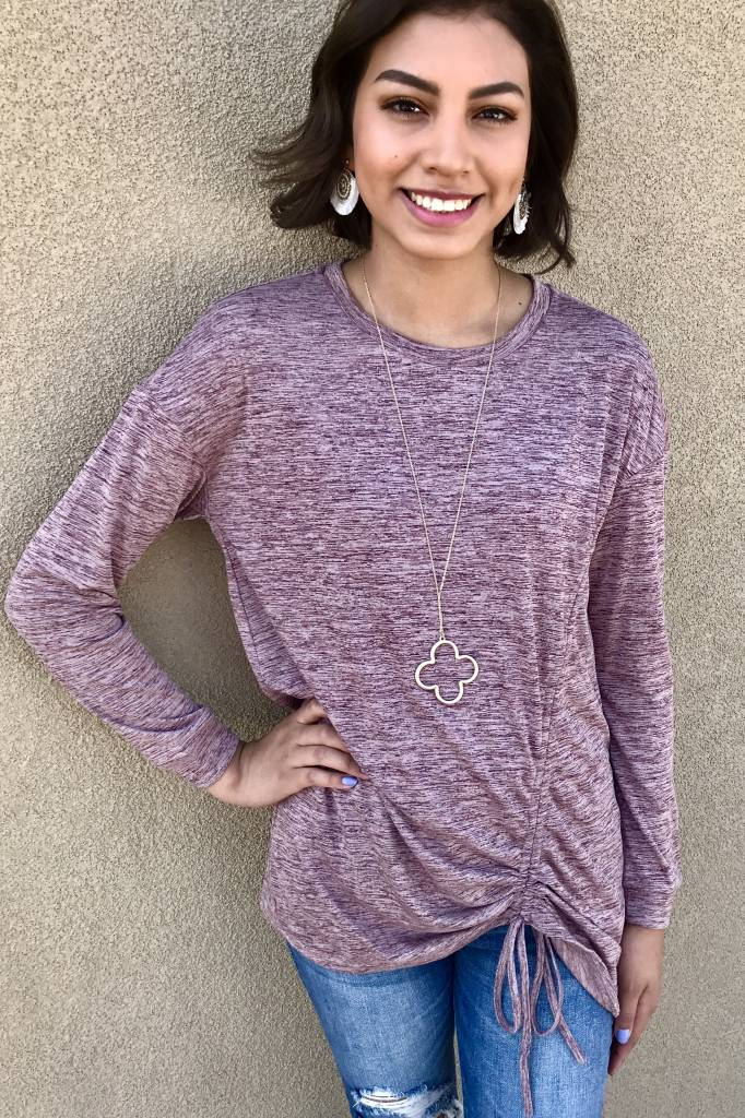 Mauve Ruched Drawstring Knit Top