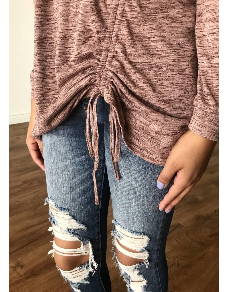 Mauve Ruched Drawstring Knit Top