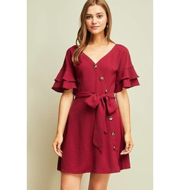 Burgundy Dress with Button Detail