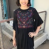 Black Embroidered Dress with Bell Sleeves