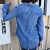 Denim Button Up Top w/ Fringe Collar Detail