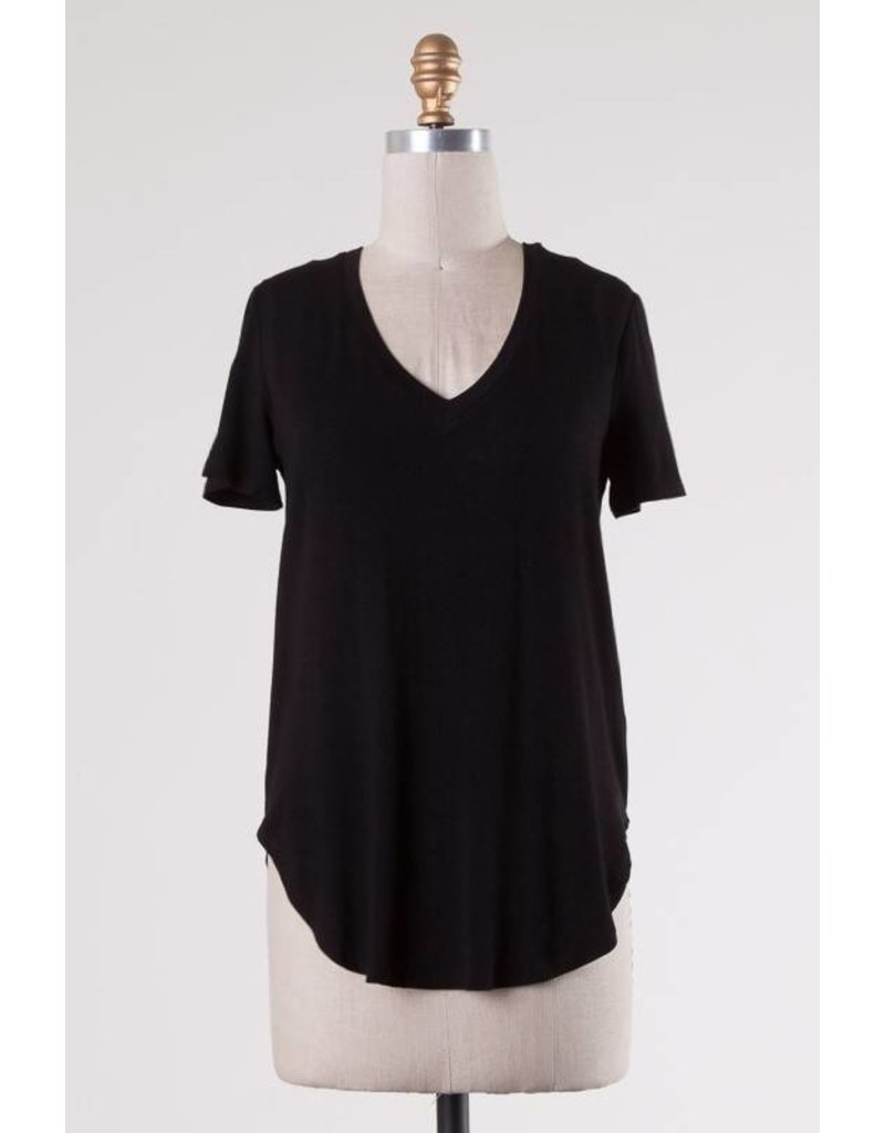 Black Solid Jersey V-Neck Hi-Low Top