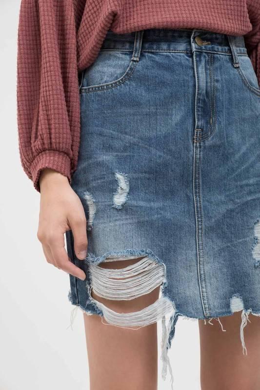 Medium Wash Distressed Denim Skirt