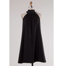 Black Mock Neck Sleeveless Dress