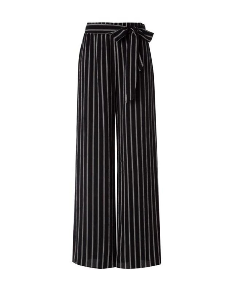 Black Striped Wide Leg Trouser Pant with Tie Front