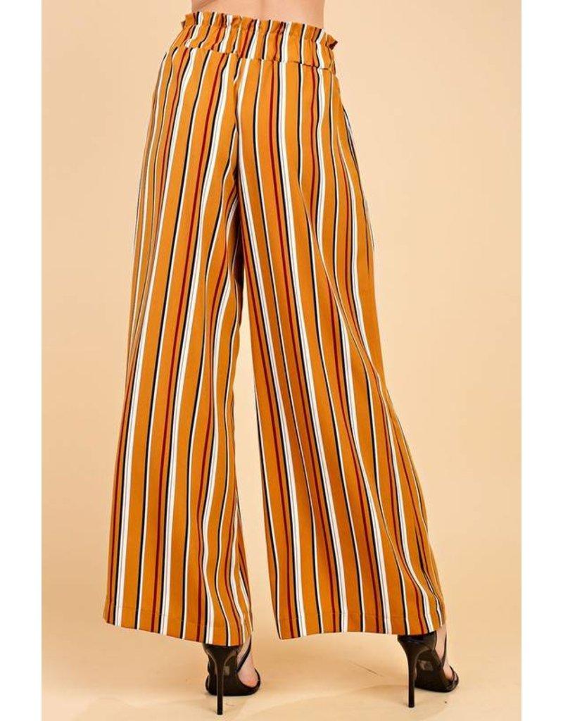 Bronze and Black Striped Self Tie Pants
