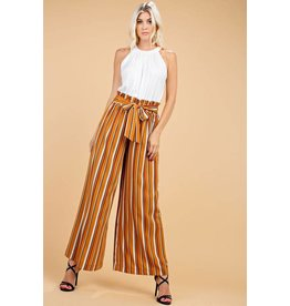 Bronze and Black Striped Self Tie Pants